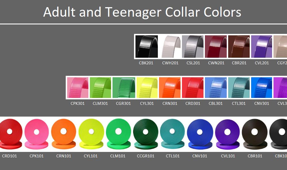 DogFolk Mercantile Biothane Dog Adult Collars – Color Chart – Labeled