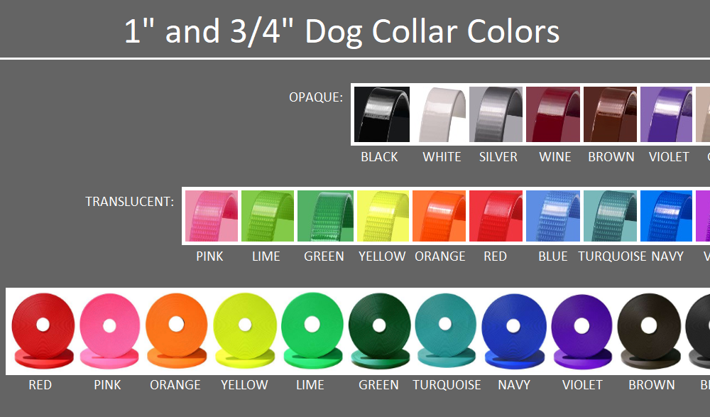 DogFolk Mercantile Biothane Dog Adult Collars – Color Chart – Labeled V2