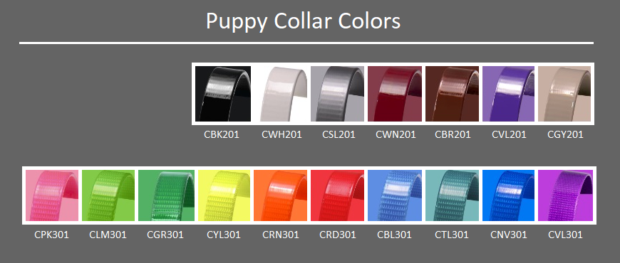 DogFolk Mercantile Biothane Puppy Collars – Color Chart – Labeled
