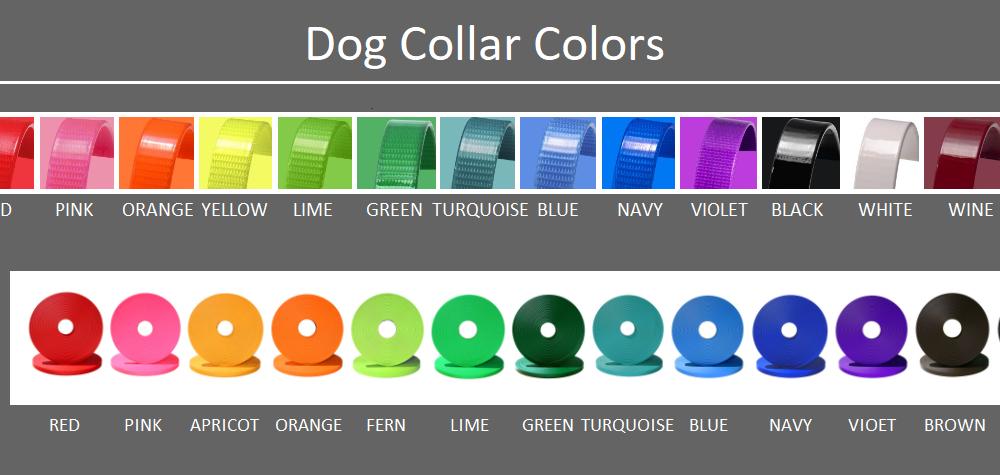 DogFolk Mercantile Biothane Dog Adult Collars – Color Chart – Labeled V4
